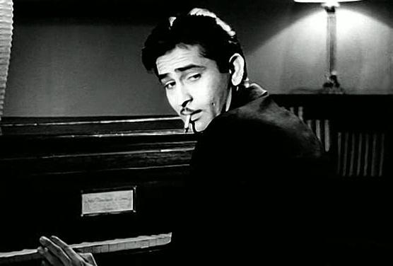 Raj Kapoor as villain or anti-hero in Andaz with Dilip Kumar and Nargis