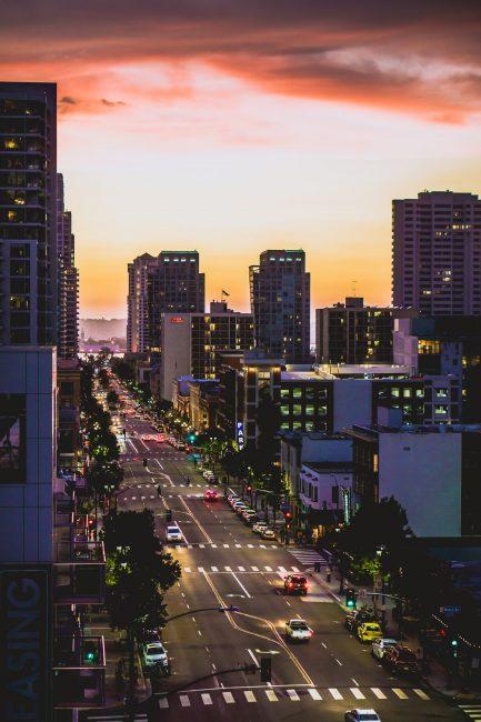 San Diego roads and skyline