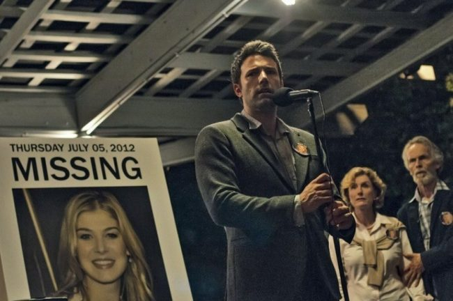 Gone Girl movie with Ben Affleck and Rosamund Pike adapted from the book by Gillian Flynn