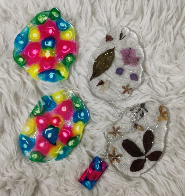 Colorful resin coasters as part of The Best Handmade Art and Craft For Your Home Decor