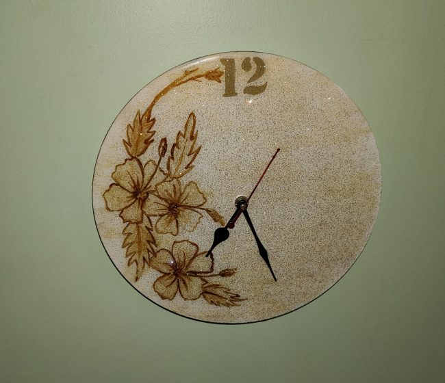 Glittery Handmade wall clock with resin coating as part of The Best Handmade Art and Craft For Your Home Decor